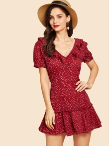 Polka Dot Ruffle Trim Lace Up Back Dress