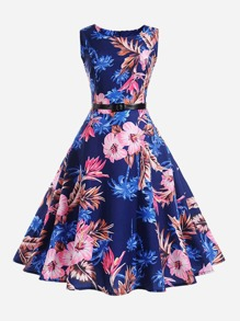 Floral Print Belted Flare Dress