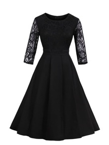 Contrast Lace Flare Dress