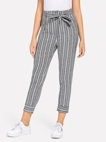 Striped Self Tie Waist Pants
