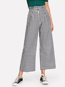 Plaid Ruffle Trim Wide Leg Pants