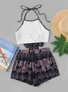 Elephant Print Halter Knot Back Top With Shorts