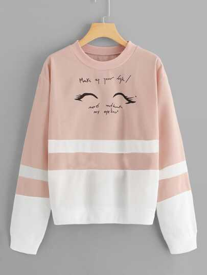 Letter Graphic Cut And Sew Sweatshirt