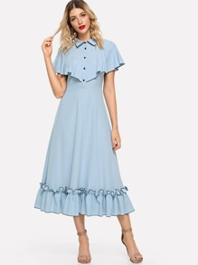 Half Placket Ruffle Trim Dress
