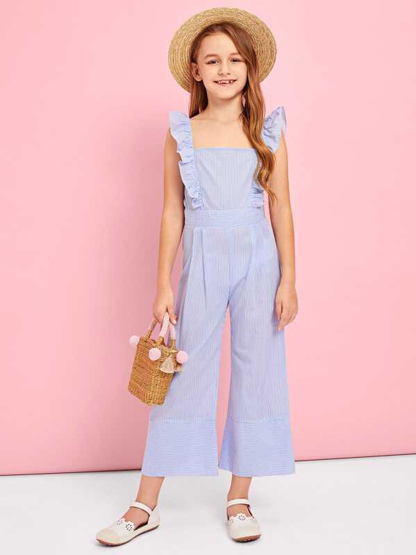 78d26dcbae Girls Ruffle Strap Striped Jumpsuit | SHEIN UK