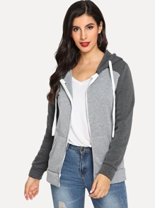 Contrast Color Zip Up Hooded Jacket