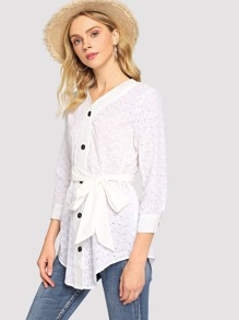 Eyelet Back Button Up Top