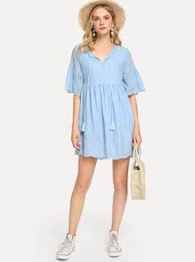 Flounce Sleeve Tassel Tied Eyelet Dress