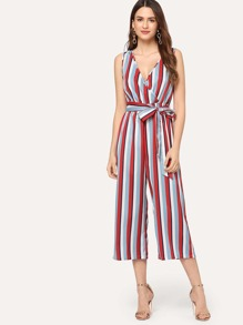 Vertical Striped Surplice Wrap Shell Jumpsuit