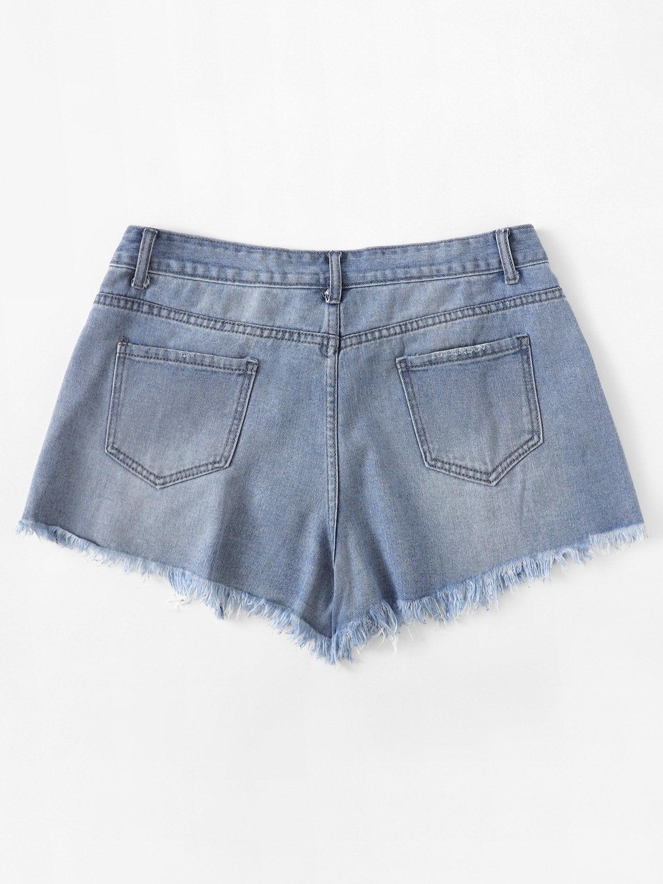zerrissene jeans shorts german shein sheinside. Black Bedroom Furniture Sets. Home Design Ideas
