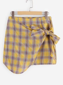 Knot Side Overlap Plaid Skirt