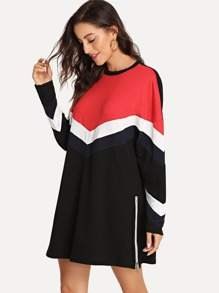 Color Block Striped Tunic Pullover