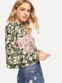 Letter Print Camo Hoodie