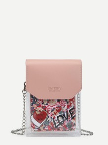 Clear Contrast Flap Chain Crossbody Bag