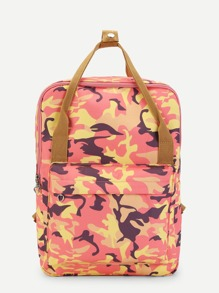 Camouflage Pattern Backpack With Handle