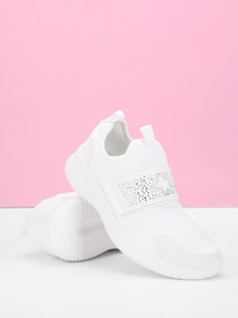 Studded Detail Low Top Velcro Sneakers
