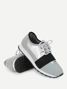 Low Top Lace Up Velcro Sneakers