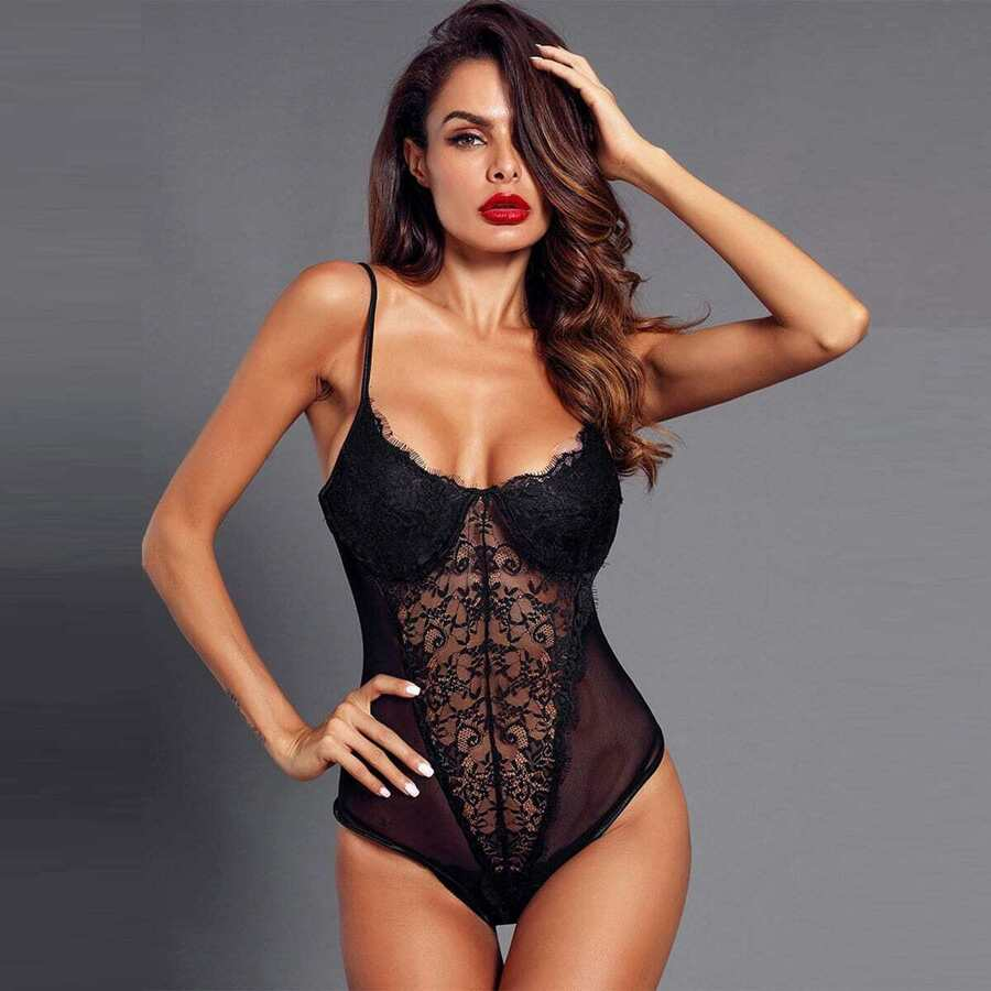 Eyelash Lace & Mesh Teddy Bodysuit