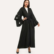 3D Applique Layered Flounce Sleeve Self Belted Abaya