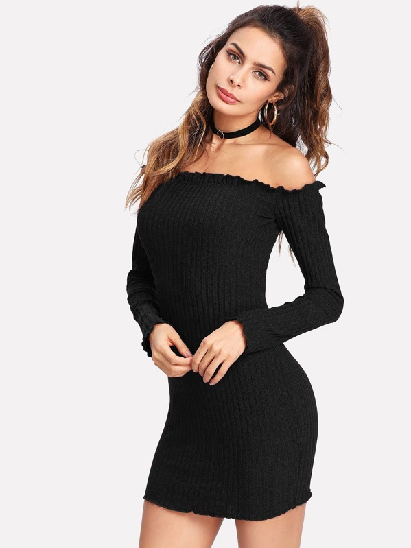 262e13bff6 Lettuce Edge Ribbed Off Shoulder Dress | SHEIN