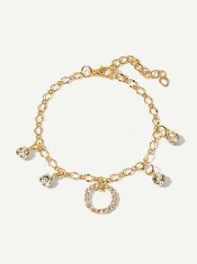 Rhinestone Circle Detail Anklet Chain
