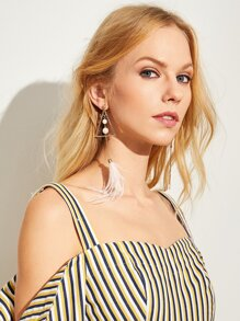 Feather & Triangle Mismatched Statement Earrings