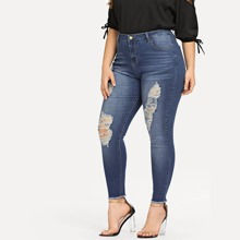 Plus Shredded Front Raw Hem Jeans