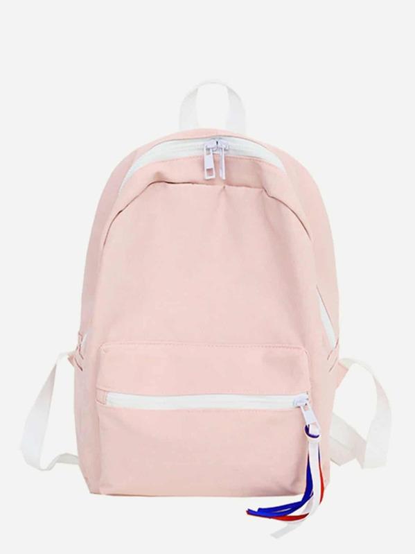 a5dc32884 Contrast Trim Tassel Detail Backpack