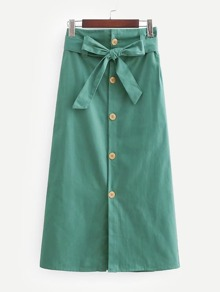 Button Through Self Tie Skirt