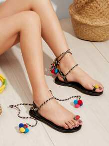 Pom Pom Decorated Lace-Up Sandals
