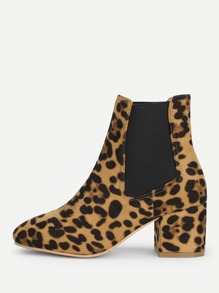 Elastic Leopard Ankle Boots