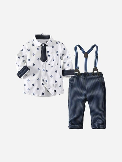 Toddler Boys All Over Printed Shirt With Striped Overalls | ROMWE