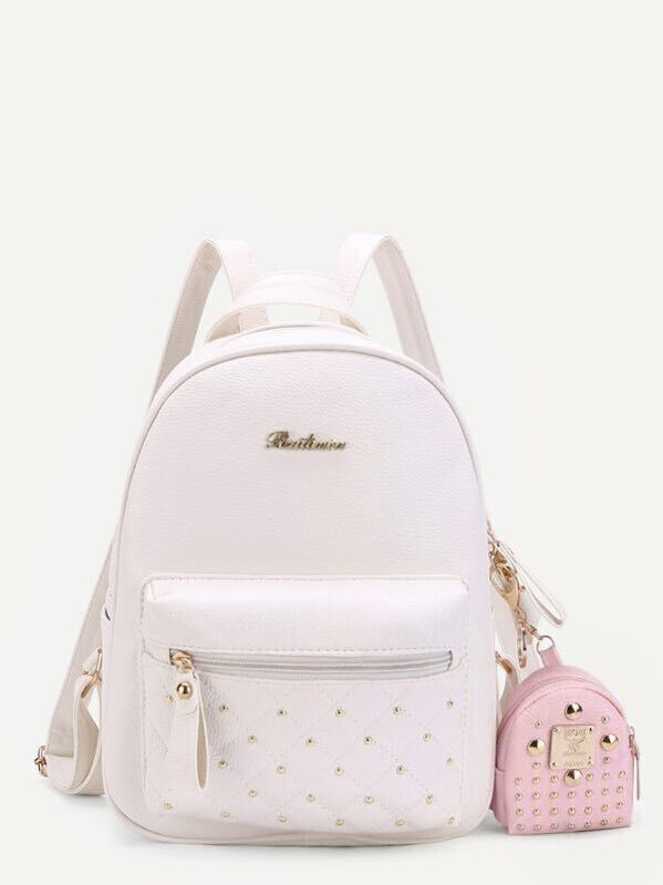 855d6161e98 Studded PU Backpack With Mini Backpack Charm