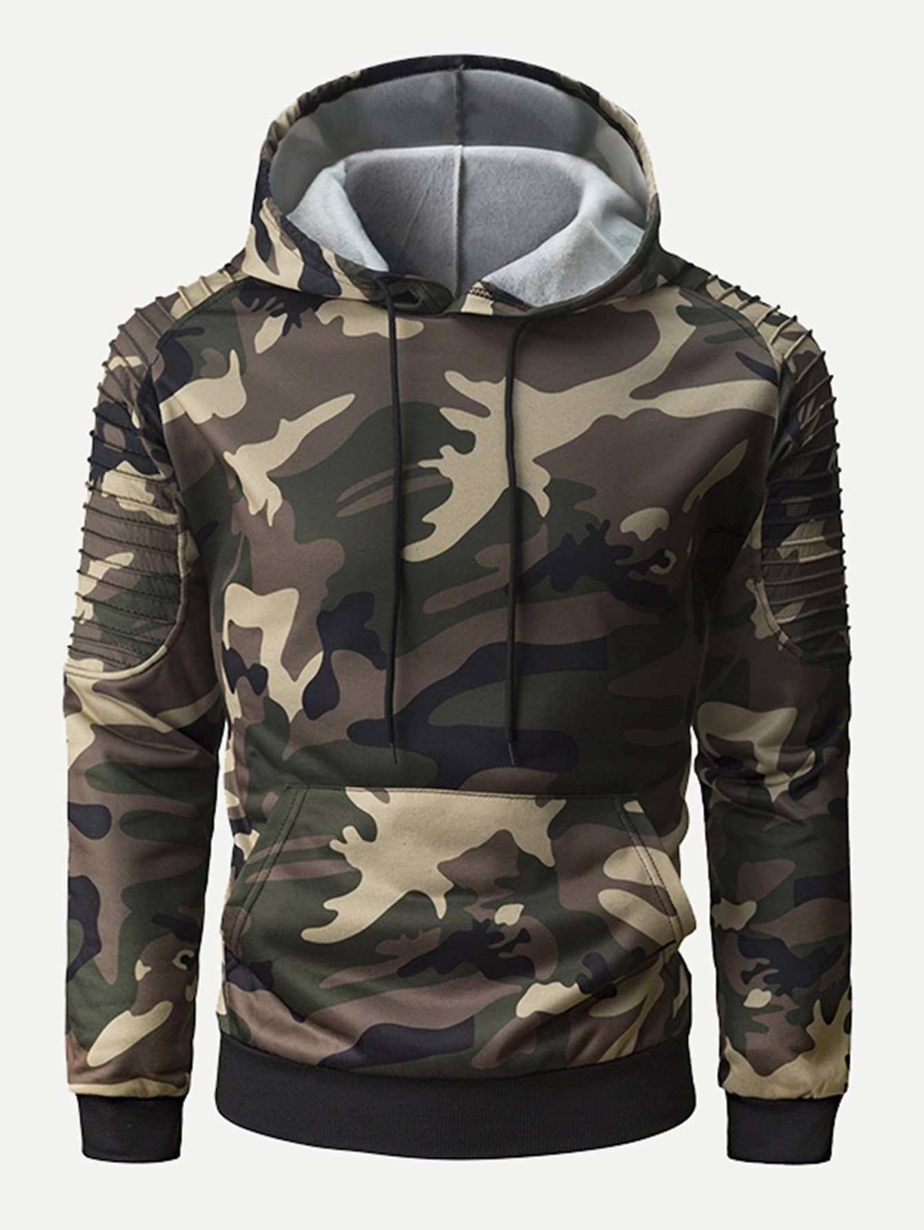 Men Pleated Sleeve Camo Hooded Sweatshirt Men Pleated Sleeve Camo Hooded Sweatshirt