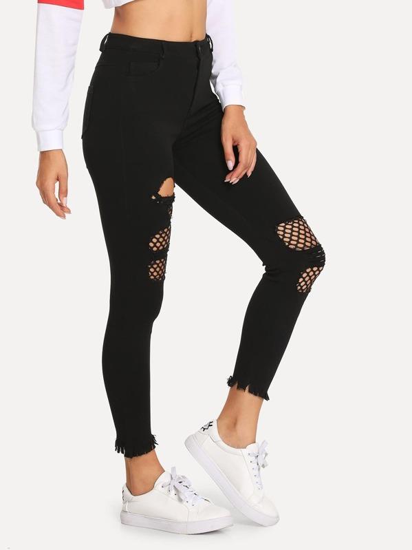 ab49bd016dfeb Fishnet Lined Raw Hem Jeans   SHEIN UK
