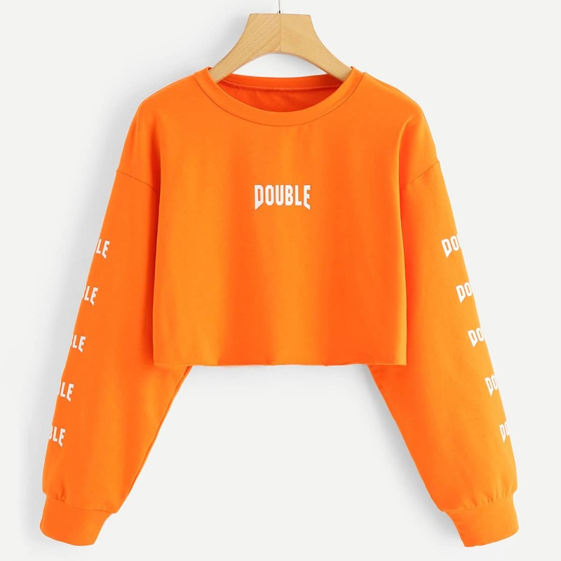 Neon Orange Letter Graphic Crop Sweatshirt, Orange bright