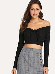 Off Shoulder Knot Front Crop Tee