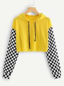 Gingham Panel Drawstring Hooded Tee