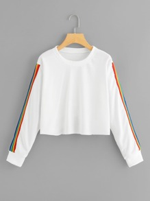 Colorful Striped Tape Side Sweatshirt