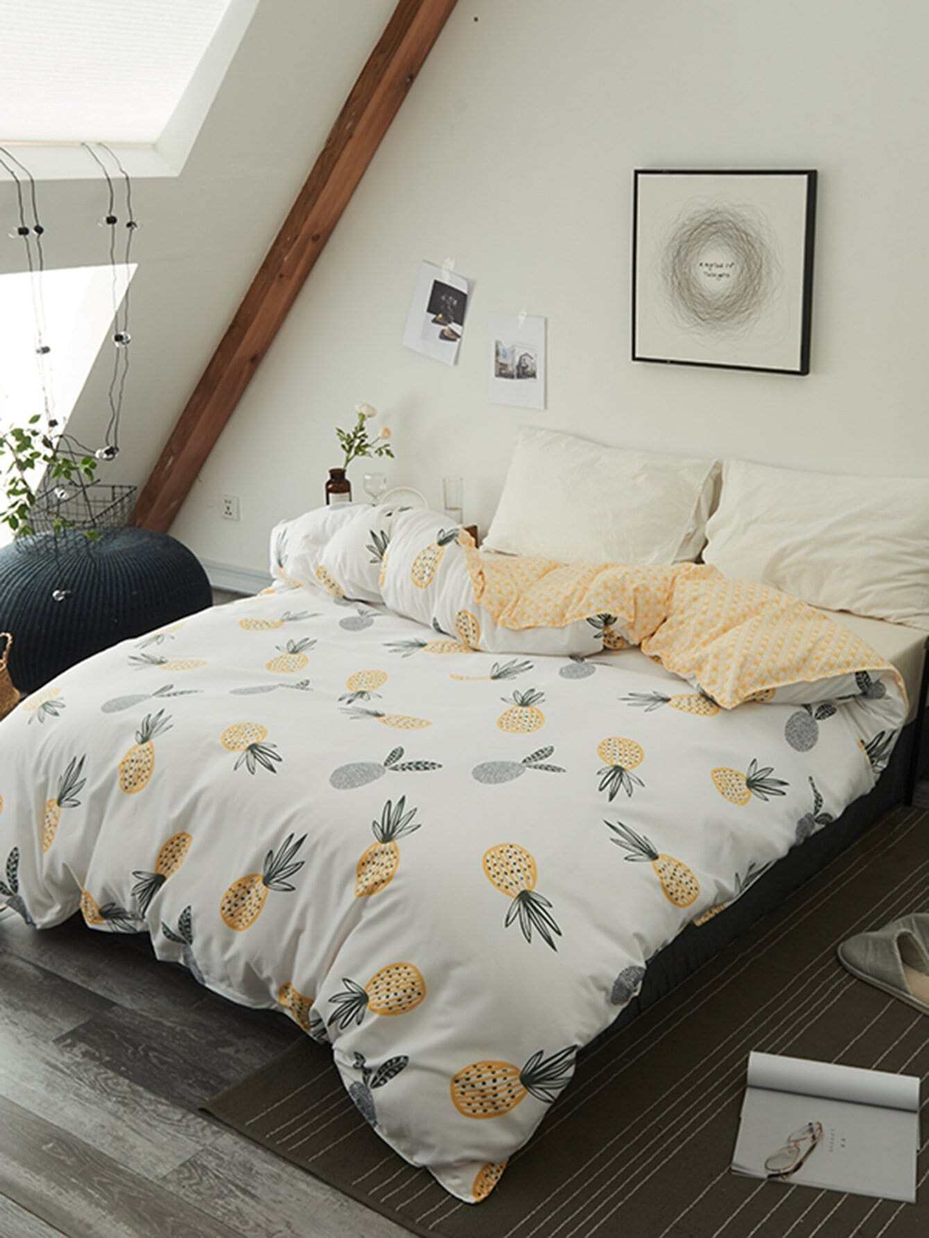 housse de couette imprim e ananas 1 pi ce french romwe. Black Bedroom Furniture Sets. Home Design Ideas
