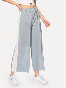 Contrast Panel Side Pleated Pants