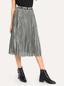 Letter Print Pleated Solid Skirt