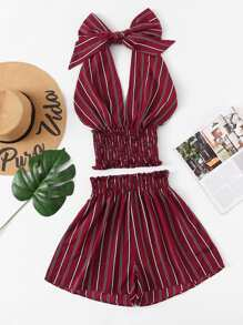 Striped Frill Halter Top With Shorts