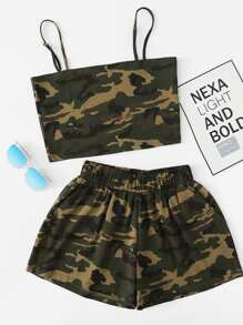 Plus Camouflage Cami Top And Shorts