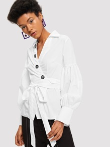 Button Half Placket Surplice Wrap Belted Top