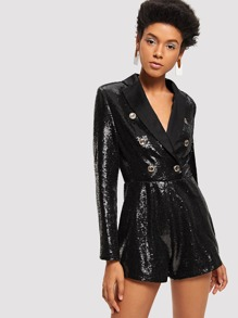 Double Breasted Sequin Blazer Romper