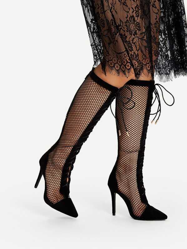 b5e8d82b80d Lace Up Fishnet Knee High Boots