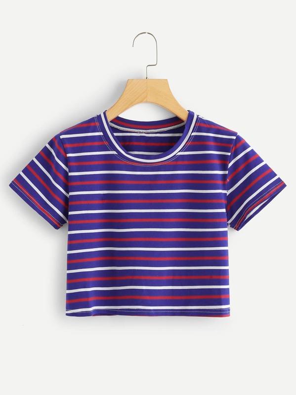 96267768fa Stripe Contrast Cuff Tee SHEIN Smr em 2019 Crop tops