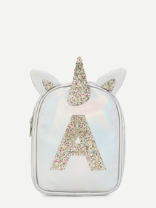 Girls Unicorn Ear Design Glitter Backpack