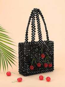 Cherry Beaded Tote Bag